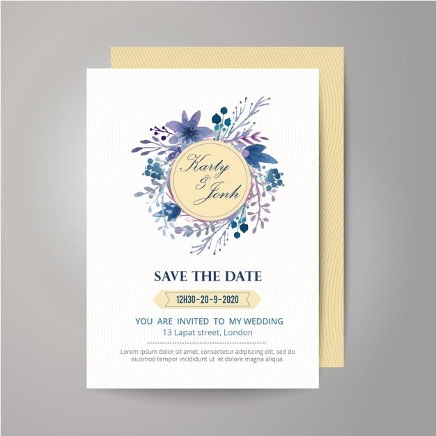 Mit Blumen und Band Hochzeitseinladungsentwurf Kostenlose Vektoren