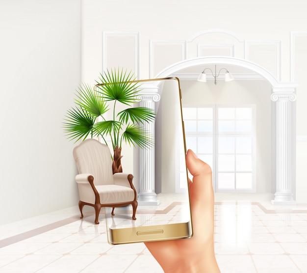 Mit der erweiterten virtual-reality-touchscreen-innenanwendung für smartphones können pflanzen und möbel realistisch zusammengesetzt werden Kostenlosen Vektoren