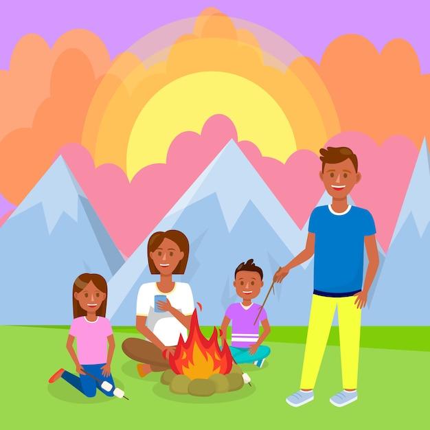 Mit der familie in der gebirgsvektorzeichnung kampieren. Premium Vektoren