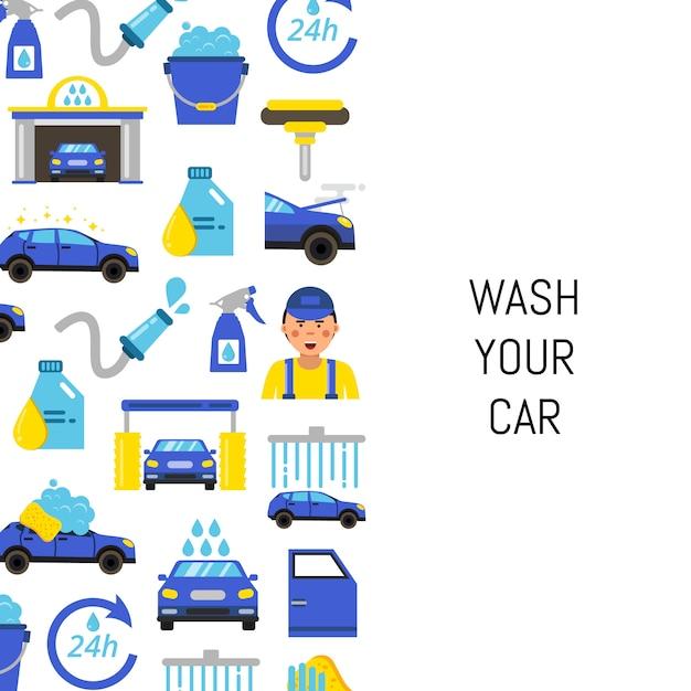 Mit flachen ikonen der autowäsche und platz für text Premium Vektoren