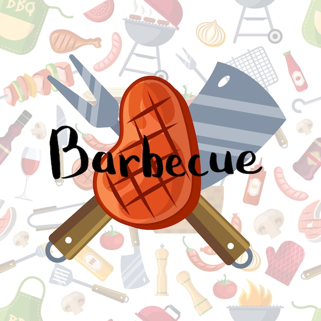 Mit gebratenem fleisch, messer und gabel mit schriftzug auf grill- oder grillelementen Premium Vektoren