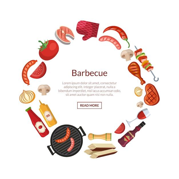 Mit grill-, grill- oder steakkochelementen im kreis mit platz für text in der mitte Premium Vektoren