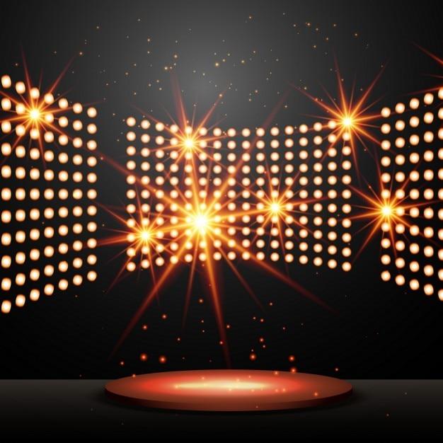 Mit lichtern podium und leuchtenden sternen Kostenlosen Vektoren