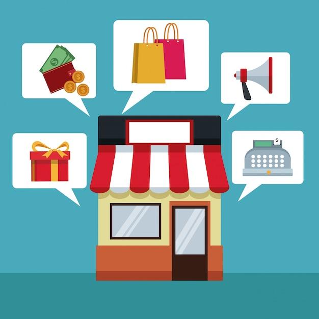 Mit shop und dialogfeld mit elementen online-shopping Premium Vektoren