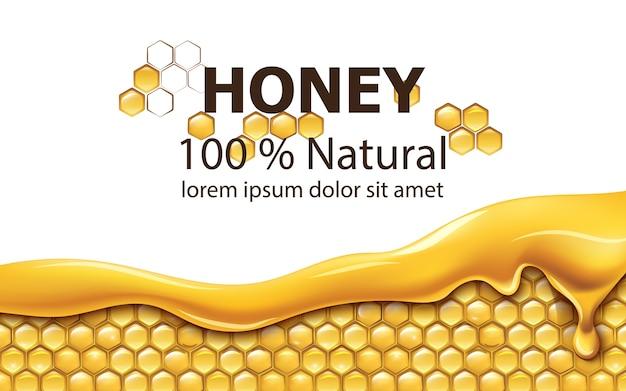Mit tropfendem honig bedeckte waben Premium Vektoren