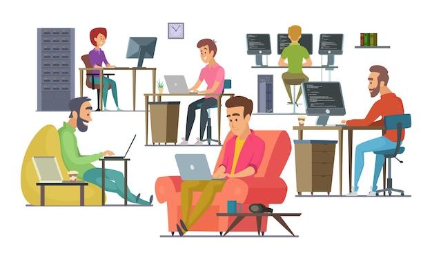 Mitarbeiter bei der arbeit. männliche und weibliche programmierer und designer Premium Vektoren