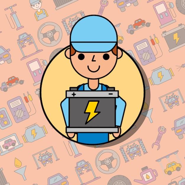 Mitarbeiter, der die wartung des batterie-autoservice hält Premium Vektoren