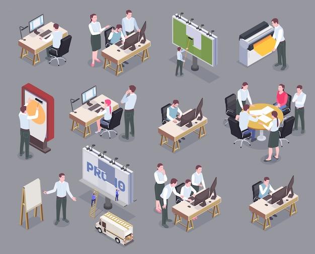 Mitarbeiter der werbeagentur an ihren arbeitsplätzen isometrische symbole lokalisiert auf grauem hintergrund 3d Kostenlosen Vektoren