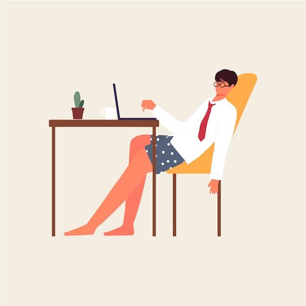 Mitarbeiter gelangweilt und müde von zu hause aus arbeiten illustration Premium Vektoren
