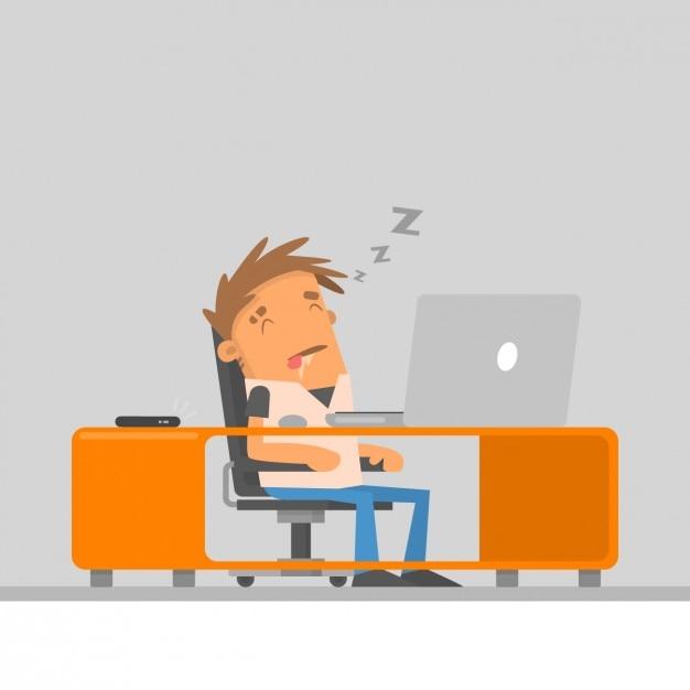 Mitarbeiter schlafen auf seinem arbeitsplatz Kostenlosen Vektoren