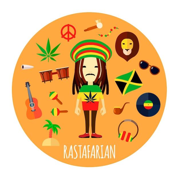 Mitglied des rastafari glaubens und der art des lebens charakter zubehör Kostenlosen Vektoren