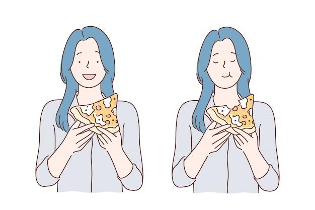 Mittagessen, fastfood, hunger Premium Vektoren