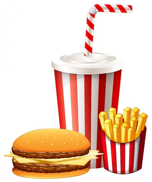 Mittagessen mit hamburger und pommes Kostenlosen Vektoren