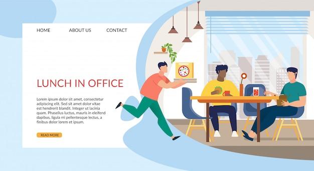 Mittagessen mit informativer inschrift im büro. Premium Vektoren