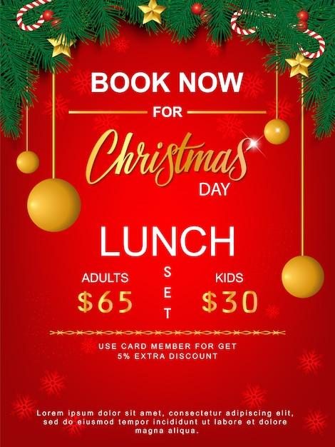 Mittagessen-set-frohe weihnachten-broschüre Premium Vektoren