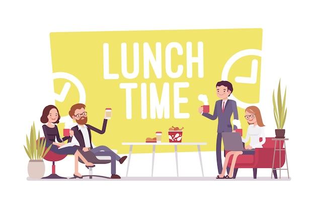 Mittagspause im büro Premium Vektoren
