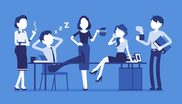 Mittagszeit im büro. ein team junger arbeiter macht während des arbeitstages eine kurze pause, genießt die gemeinsame zeit, trinkt eine tasse kaffee oder tee, plaudert und lächelt. stil cartoon illustration Premium Vektoren
