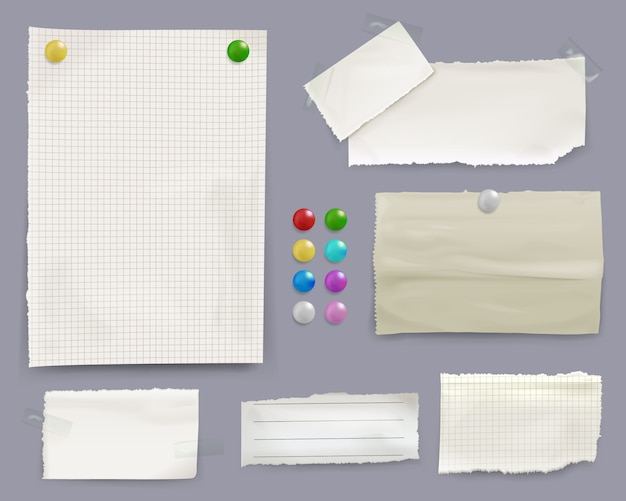 Mitteilung merkt illustration von papierblättern mit farbstiftklammern auf anschlagbretthintergrund Kostenlosen Vektoren