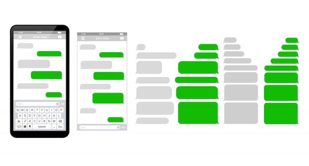 Mitteilungs-telefonschablone, die sms schablonenblasen plaudert Premium Vektoren