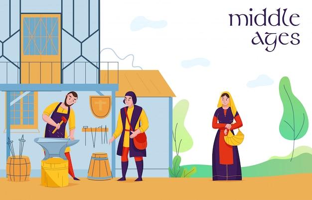 Mittelalter siedlung bürger bei der arbeit flache zusammensetzung mit dorf mittelalterlichen schmied bauern landarbeiter vektor-illustration Kostenlosen Vektoren