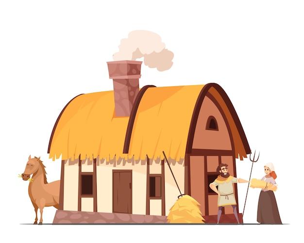 Mittelalterliche bäuerliche haushaltskarikatur Kostenlosen Vektoren
