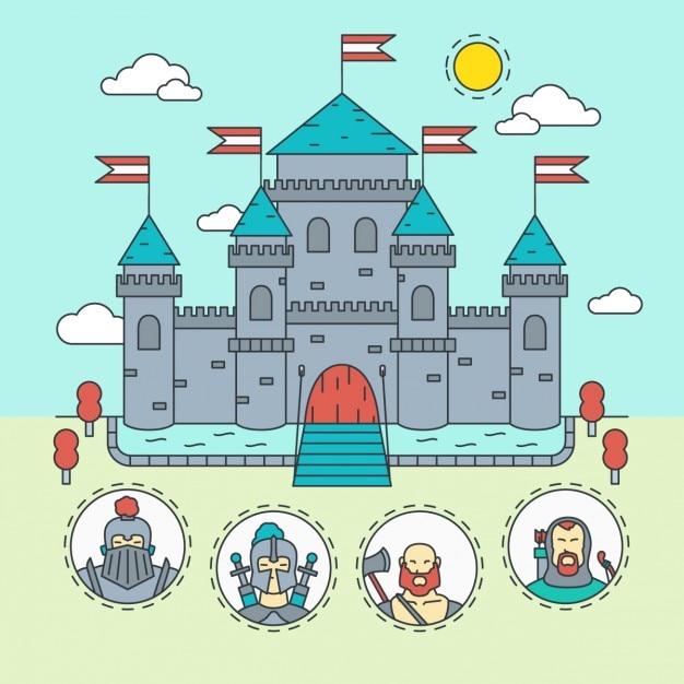 Mittelalterliche burg mit krieger Kostenlosen Vektoren