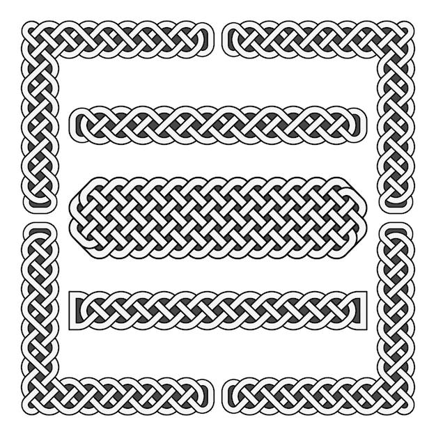 Mittelalterliche grenzen und eckelemente des keltischen knotenvektors Premium Vektoren
