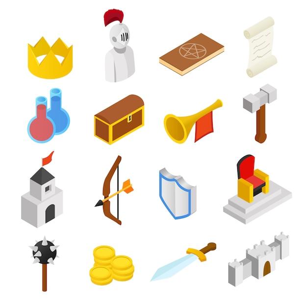 Mittelalterliche isometrische ikonen 3d eingestellt Premium Vektoren