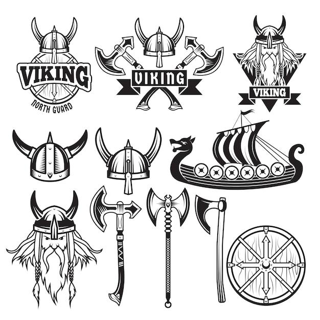 Mittelalterliche krieger und seine waffen. etiketten mit wikingern. stellen sie isolat auf weiß ein Premium Vektoren