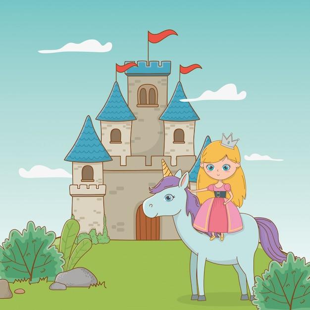 Mittelalterliche prinzessin und märchenhaftes pferd Premium Vektoren