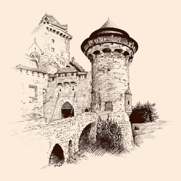 Mittelalterliche steinburg mit türmen am meer und einer brücke. Premium Vektoren