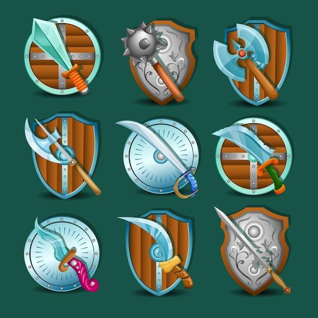 Mittelalterliche waffe und schilde symbol set Kostenlosen Vektoren