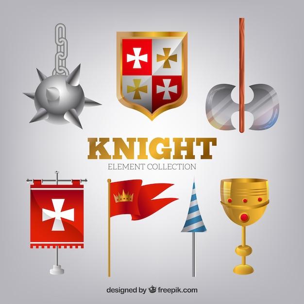 Mittelalterliche waffen und flaggen mit realistischem stil Kostenlosen Vektoren