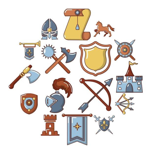 Mittelalterlicher ikonensatz des ritters, karikaturart Premium Vektoren