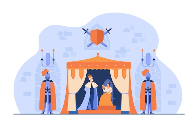 Mittelalterlicher könig und königin auf thron unter bewachung von rittern in rüstungen im schlossinneren. vektorillustration für königreich, mittelalter, märchenkonzept Kostenlosen Vektoren