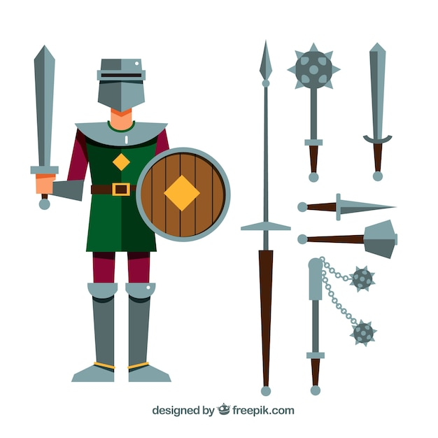 Mittelalterlicher krieger mit verschiedenen waffen Kostenlosen Vektoren