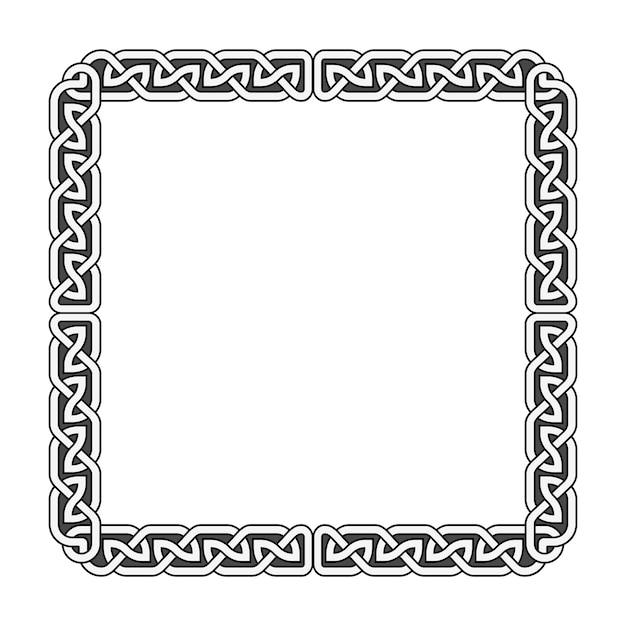 Mittelalterlicher rahmen des keltischen knotenvektors in schwarzweiss Premium Vektoren