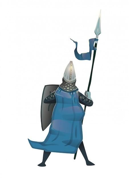 Mittelalterlicher ritter in rüstung mit schild und speer, rückansicht. illustration ,. Premium Vektoren