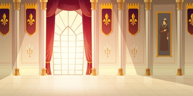 Mittelalterlicher schlossballsaal, historischer museumshallenkarikatur-vektorhintergrund. glänzender fliesenboden, rote vorhänge auf großem fenster, hohe spalten, flaggen mit heraldischem emblem und tapisserie auf wandillustration Kostenlosen Vektoren