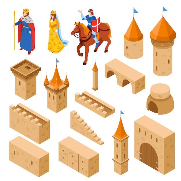 Mittelalterliches königliches schloss isometrisches set Kostenlosen Vektoren