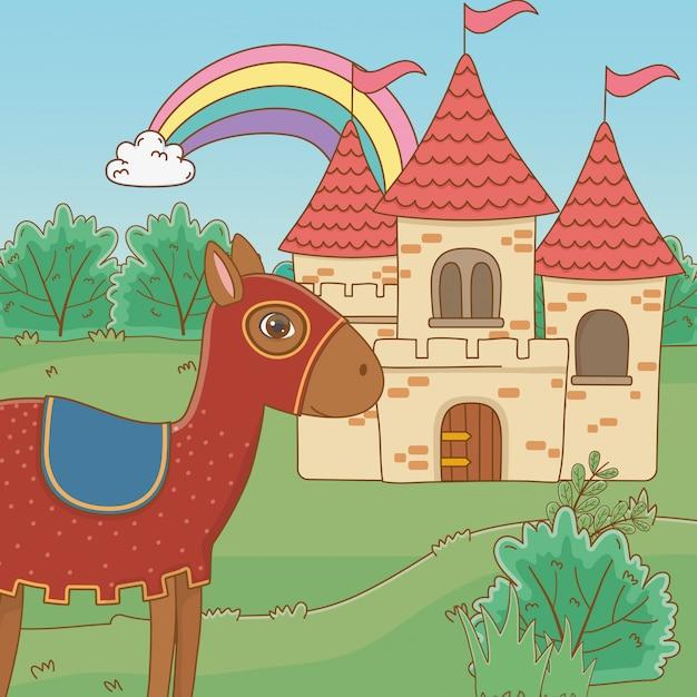 Mittelalterliches pferd und märchenschloss Kostenlosen Vektoren