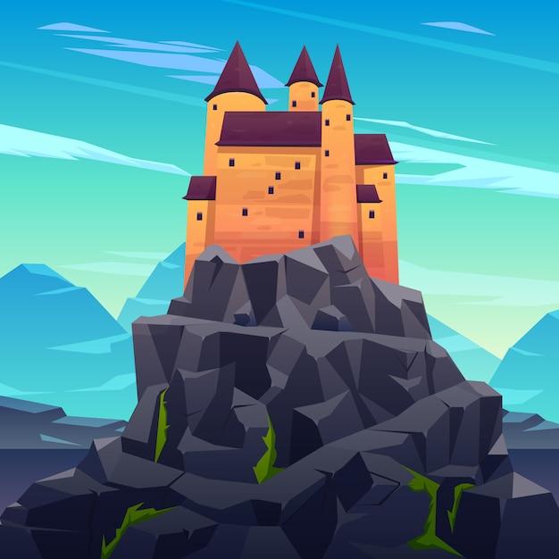 Mittelalterliches schloss, alte zitadelle oder uneinnehmbare festung mit steintürmen auf felsiger höchstkarikatur Kostenlosen Vektoren