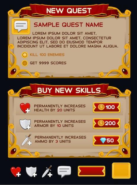 Mittelalterliches spiel gui-pack Premium Vektoren