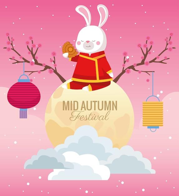 Mittherbstfeierkarte mit kaninchen in der vollmondszene Premium Vektoren