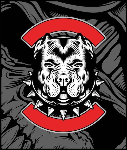 Mittlere bulldoggen-maskottchen-illustration Premium Vektoren