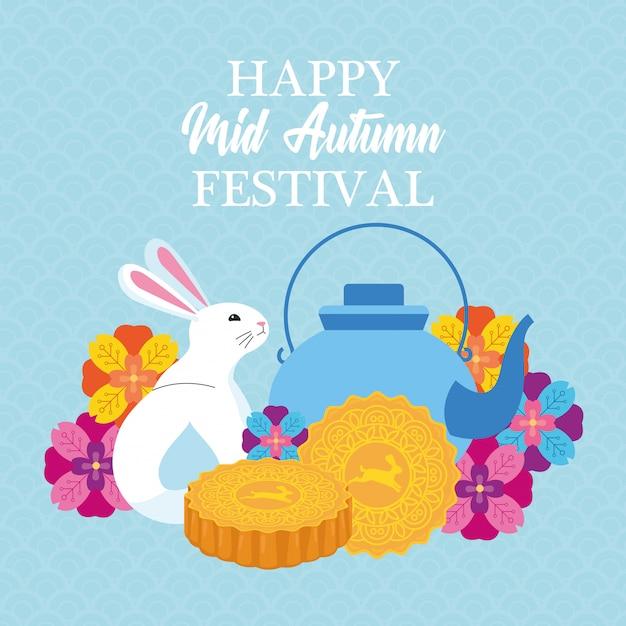 Mittlere chinesische festivalkarikatur des herbstes Premium Vektoren
