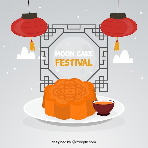 Mittlerer herbstfestivalhintergrund mit mondkuchen Kostenlosen Vektoren