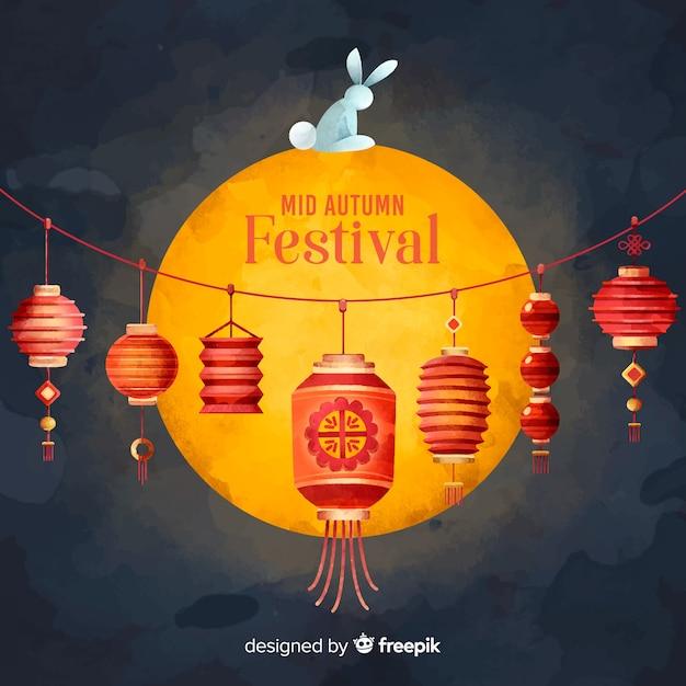 Mittlerer herbstfestivalhintergrund Kostenlosen Vektoren