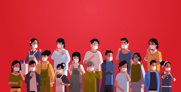 Mix race menschenmenge in schutzmasken seuchenstopp coronavirus konzept wuhan pandemie gesundheitsrisiko porträt horizontal Premium Vektoren