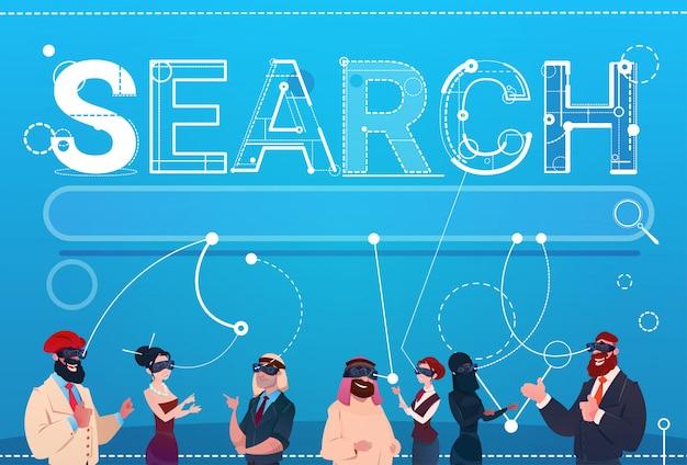Mix race people group tragen digital reality brillen daten suchen im internet Premium Vektoren
